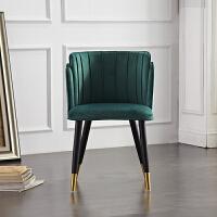 北欧实木椅子靠背椅轻奢餐椅休闲布艺墨绿色带扶手家用咖啡厅桌椅