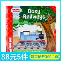 英文原版绘本 小火车托马斯和他的朋友们 Thomas and Friends Busy Railways 宝宝英语启蒙