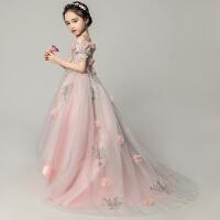 �和�婚�拖尾小女孩模特走秀演出服女童晚�Y服粉色�琴演出服