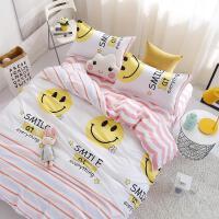 韩版学生宿舍床品三件套1.2米男女卡通1.5m单人床单被套四件套春 白色 微笑