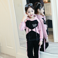 女童秋冬装金丝绒加绒加厚套装2018新款洋气儿童装运动卫衣两件套