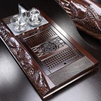 唐丰黑檀浮雕大茶盘家用实木简约现代长方形茶台遥控自动电热炉