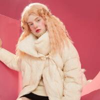 【单件到手:339 领券更优惠 发货时间8月10日】妖精的口袋白鸭绒纯色蕾丝羽绒服女秋冬轻薄短款外套