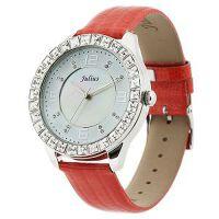 2018新款 Julius/聚利时 鳄鱼皮纹表带女士手表 璀璨水晶女表 JA-379 红色