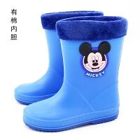 迪士尼儿童雨鞋男女童宝宝雨靴中大童水鞋棉套鞋小孩胶鞋防滑冬夏