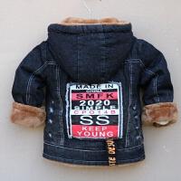 童装儿童秋冬款男童加绒加厚牛仔风衣外套上衣夹克中大童男孩冬装