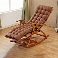 折叠椅子竹实木椅家用午休办公室竹躺椅亭院休闲椅定制 摇椅 加长棕色垫