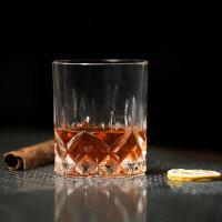平底钻石 无铅玻璃 威士忌杯 刻花古典杯 岩石杯 钻石纹烈酒杯