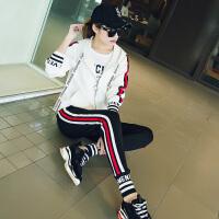 休闲运动套装女春秋2018新款韩版运动服时尚学生长袖卫衣两件套潮 S 推荐75-90斤