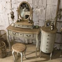 法式乡村美式地中海家具复古白色化妆桌小户型卧室迷你公主梳妆台 组装