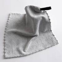 2条装加厚挂式擦手小方巾 素色简约儿童家用洗脸小毛巾比纯棉吸水 25x25cm