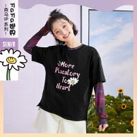 森马短袖T恤女2021夏季新款宽松圆领套头打底韩版潮流女装上衣