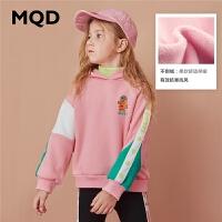 【折后券后�A估�r:144】MQD童�b女童加厚加�q�B帽�l衣女厚2020冬季撞色�和��n版�B帽�l衣