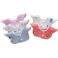 儿童吃饭口水围兜360度旋转女孩婴儿口水巾棉宝宝围嘴