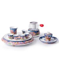 唐丰珐琅彩功夫茶具套装会客陶瓷小套礼盒装家用泡茶器