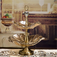 【新品】时尚欧式果盘 创意双层玻璃现代简约水果盘 水晶客厅茶几摆件