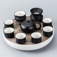 【新品】功夫茶具套装 家用简约客厅办公室用小套陶瓷黑陶小茶台干泡小型