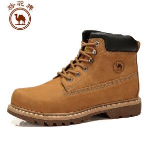 骆驼牌 新款 男鞋 户外休闲男靴子工装靴保暖耐磨