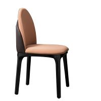【新品】北欧实木餐椅设计师创意洽谈椅后现代简约酒店咖啡厅休闲皮艺椅子