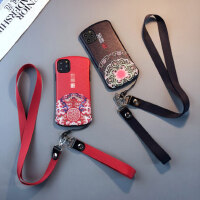 中国风蚕丝iphone11pro手机壳6s苹果xsmax挂绳7/8plus软胶女浮雕