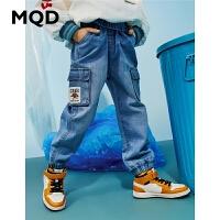 【2件3折:144】MQD童装男童休闲牛仔裤2020春装新款浅牛仔蓝锥形裤儿童休闲长裤
