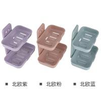 3个装卫生间免打孔吸盘肥皂盒家用沥水便携置物架双层皂盒壁挂式香皂盒