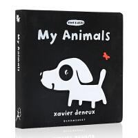 英文原版绘本 My Animals 儿童启蒙 趣味绘本 洞洞书 Xavier Deneux 作品 black & whi