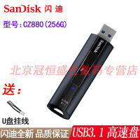 【支持礼品卡+送挂绳包邮】SanDisk闪迪 CZ880 256G 优盘 读420MB/秒 USB3.1极速传输  256GB 商务高速加密U盘