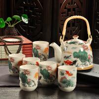 2019新品复古青花陶瓷带过滤家用茶具套装瓷茶壶茶杯提梁壶茶具套装 7件 荷塘渔趣 7件