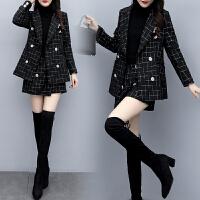 2019秋冬新款两件套韩版气质格子小西装外套短裤时尚小香风套装女