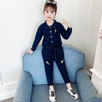 2019春秋季新款韩版中大童时尚童装两件套女童秋装牛仔套装