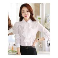 春秋款韩版女式娃娃领荷叶边长袖白色雪纺衬衫 职业打底修身衣女