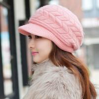 帽子韩版女士秋冬天贝雷针织护耳毛线帽兔毛帽潮冬季加厚保暖韩版