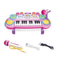 儿童电子琴玩具宝宝早教音乐多功能钢琴小女孩初学者1-3-5岁6 粉色 充电款+话筒+外接MP3