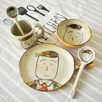 创意手工陶瓷餐具手绘釉下彩碗盘碟马克杯勺子面碗水杯男儿童