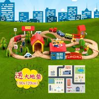 木质拖马斯轨道车电动小火车套装轨道 木制儿童拼装玩具车2岁 套餐一
