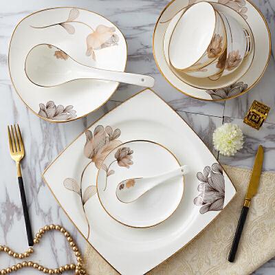 【优选】欧式餐具套装家用宫廷景德镇陶瓷器骨瓷碗碟碗具结婚组合 58头手工镶金天使心 58件