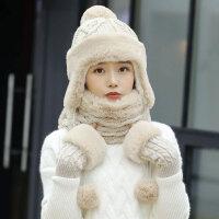 帽子女士冬天时尚韩版甜美可爱护耳保暖针织帽加绒加厚毛线帽