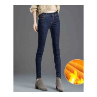 加绒加厚牛仔裤女新款韩版女裤子显瘦高弹小脚长裤铅笔裤高腰