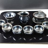 【新品】建盏茶具套装盖碗组合鹧鸪斑菊花百花盏油滴功夫茶杯6人整套陶瓷 12件