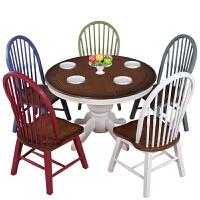 【旗舰精品】美式乡村实木餐椅地中海田园餐桌椅书桌椅简约温莎椅复古休闲椅子