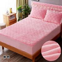 加厚夹棉珊瑚绒床笠单件席梦思床垫保护套法兰绒保暖床罩1.8m床冬