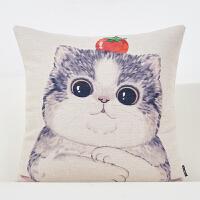猫卡通棉麻抱枕沙发靠垫办公室腰枕床头靠背汽车靠垫可爱抱枕靠枕 番茄猫 方枕