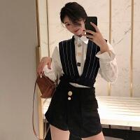 春季新款韩版POLO领单排扣长袖衬衣+两穿条纹马甲+高腰显瘦短裙裤