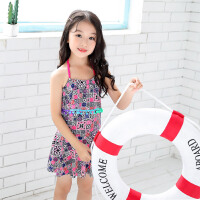 中大童女童泳装套装儿童游泳衣 宝宝可爱裙式泳装女童连体泳衣