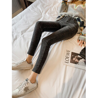 冬季新款韩版修身显瘦加绒牛仔裤女九分裤紧身弹力小脚裤铅笔裤子