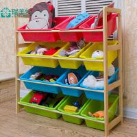 瑞美特四层实木玩具架收纳架幼儿园儿童玩具架新西兰松木