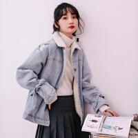 2018冬季新款韩版显瘦宽松刺绣羊羔毛加绒牛仔外套女加厚大衣 蓝色