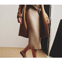 秋冬针织修身羊绒包臀裙女中长款一步裙开叉半身裙长裙毛线裙
