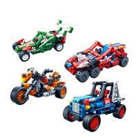 积木回力车益智拼装齿轮赛车玩具车男孩小颗粒汽车